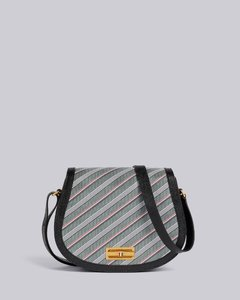 Medium Grey Monogram Coated Canvas Leather Frame Stripe Enamel Lock Saddle Shoulder Bag