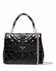 Polly small black leather cross-body bag