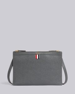 Dark Grey Pebble Grain Leather Double Zip Crossbody Document Holder