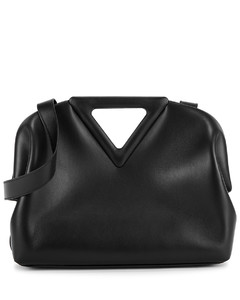 Point black leather clutch