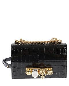 Jewelled Satchel Embellished Croc-effect Leather Shoulder Bag