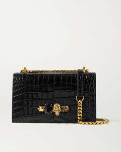 Jewelled Satchel Embellished Croc-effect Leather Shoulder Bag
