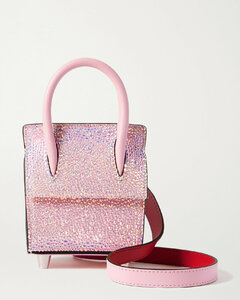 Paloma Nano Crystal-embellished Suede, Leather And Rubber Shoulder Bag
