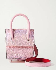 Paloma Nano Crystal-embellished Suede, Leather And Rubber Shoulder Bag