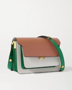 Trunk Medium Color-block Textured-leather Shoulder Bag