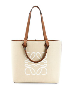 Canvas-Leather Anagram Tote Bag