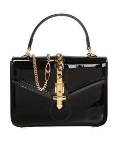 Sylvie 1969 Black Patent Leather Top Handle Bag