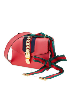 Leather Sylvie Small Shoulder Bag- Hibiscus Red