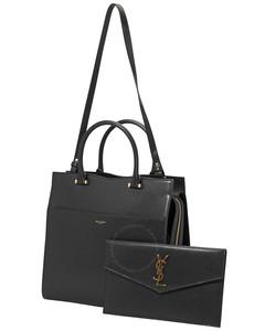 Black Grain Leather Uptown Shoulder Bag