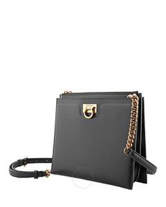 Ferragamo Ladies Black Trifolio Crossbody Bag