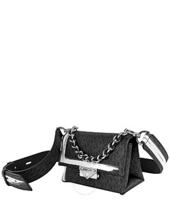 Ladies Cece Extra Small Logo Painterly Stripe Crossbody Bag-Black