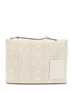 Anagram-jacquard cotton pouch