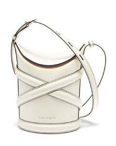 The Curve small harness-strap leather bucket bag