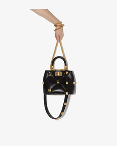 Garavani - Black Roman Stud Top Handle Small Leather Shoulder Bag