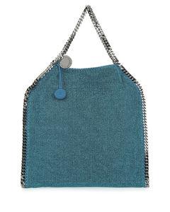 Petroleum blue lame large Falabella shoulder bag
