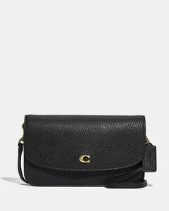 Women's Polished Pebble Leather Hayden Cross Body Bag -Black