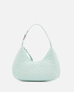 Women's Baby Amber Circular Croco Shoulder Bag - Ice