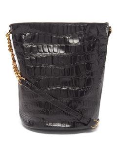 Crocodile-effect leather bucket bag