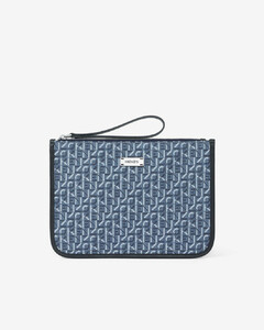 Courier gusseted jacquard clutch