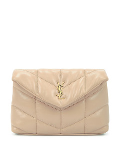 Puffer taupe leather pouch