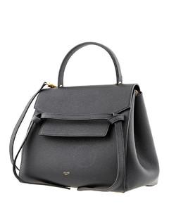 Ladies Black Grained Calfskin Mini Belt Shoulder Bag