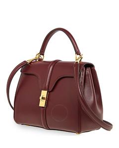 Ladies Burgundy Small 16 Shoulder Bag in Satinated Calfskin