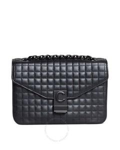 Medium C in Quilted Calfskin All Black Shoulder Bag