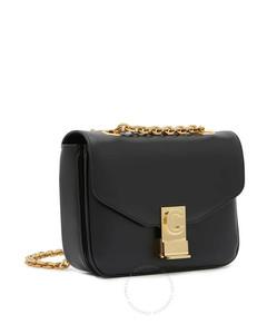 Small C Black Shoulder Bag in Shiny Calfskin