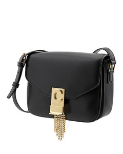 C Shiny Calfskin Shoulder Bag Small with Pampille- Black