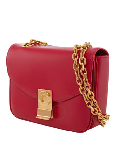 Small C Red Shoulder Bag in Shiny Calfskin