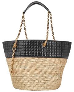 Ladies Raffia And Calfskin Medium Quilted Basket Bag