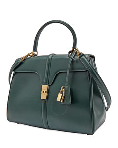 Ladies Medium 16 Bag in Satinated Calfskin in Dark Green