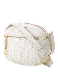 Small C Charm Quilted Calfskin Camera Bag- White