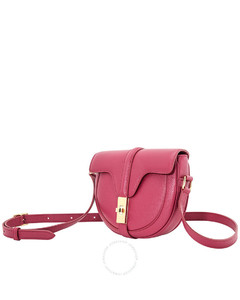 Ladies Raspberry Grained Calfskin Small Besace 16 Bag