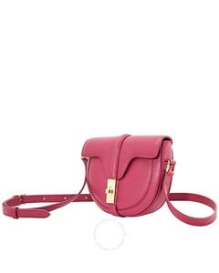 Ladies Raspberry Grained Calfskin Small Besace 16 Bag