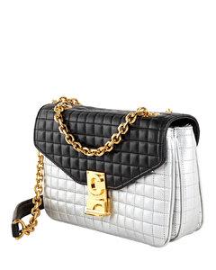 Medium C in Quilted Calfskin Black/White Shoulder Bag