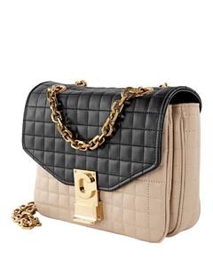 Nude/ Black Ladies Small Calfskin Shoulder Bag 188403BFD.03NB
