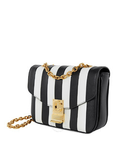 C Small Smooth Striped Calfskin- Black / White