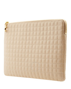 Quilted Calfskin Card Pouch- Nude