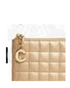 C Charm Quilted Calfskin Card and Coin Case- Gold