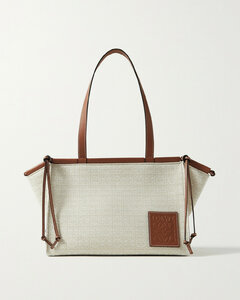 Cushion Small Leather-trimmed Canvas-jacquard Tote