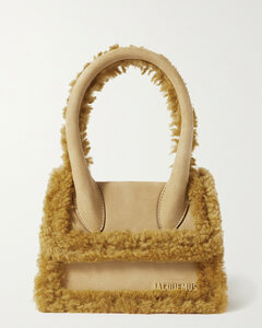 Le Chiquito Moyen Shearling-trimmed Leather Tote