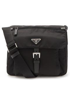 Triangle logo-plaque small recycled-nylon satchel