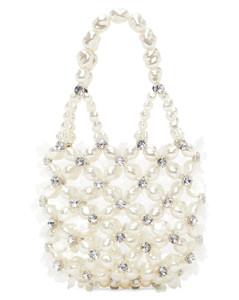灰白色Handheld Bindle珠饰手提包