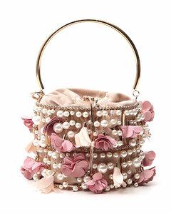 Flower Pearl-Embellished Clutch Bag