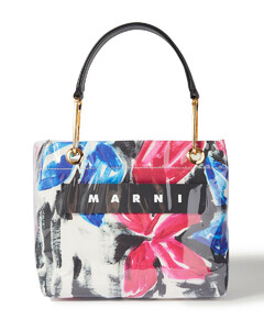 Woman Glossy Grip Leather-trimmed Floral-print Canvas And Pvc Tote
