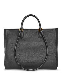Gancio tote black leather bag