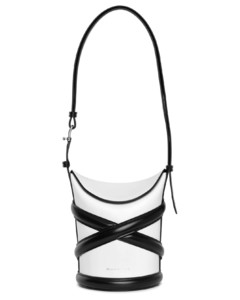 the curve soft ivory and black bucket bag