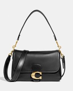 Women's Soft Calf Leather Tabby Shoulder Bag - B4/Black