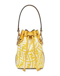 Yellow/white mon trésor ff vertigo bucket bag